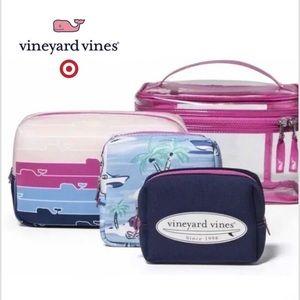 Vineyard Vines 4pc pink cosmetic cases
